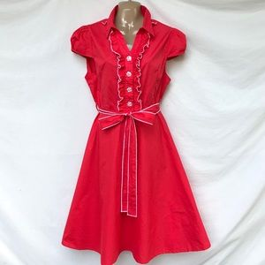 Lindy Bop Coral Red Retro Swing pinup Dress 2X